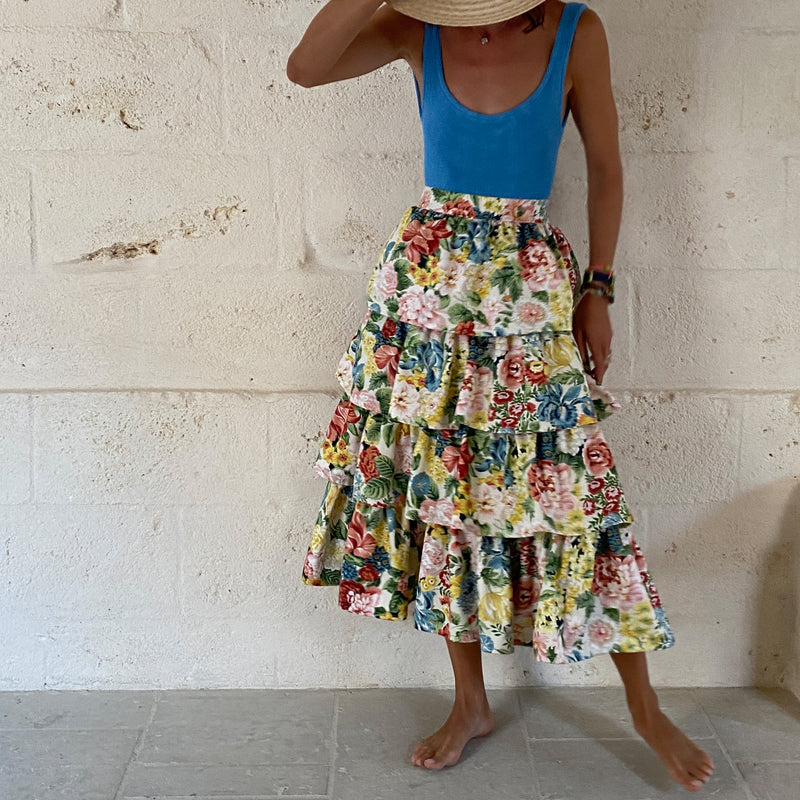One of a kind - Clara Ruffle Skirt Flowers