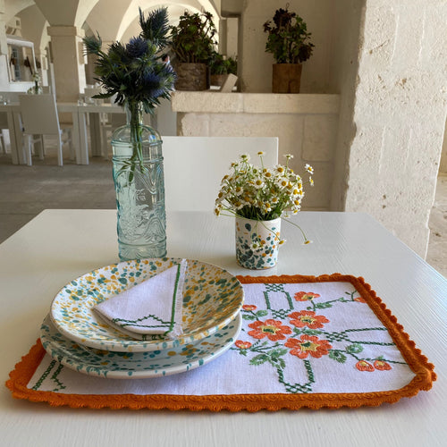 Vintage Green&Orange embroidered Placemats & Napkins (Set of 2)