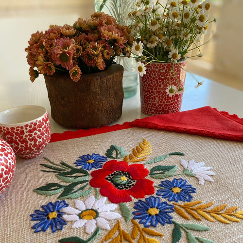 Vintage Red embroidered Placemats & Napkins (Set of 2)
