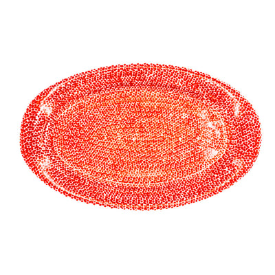 Serving Platter White & Red