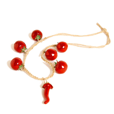 Ceramic tomatoes and chili peppers necklace