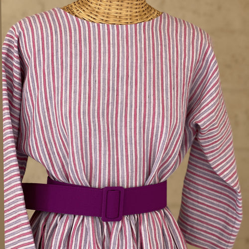 Luisa Dress in Pink Stripes