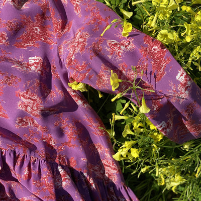 Imperia Dress in Purple Toile de jouy
