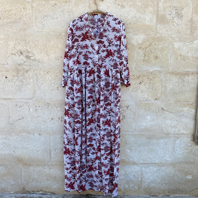 Imperia Dress in White&Red Toile de jouy