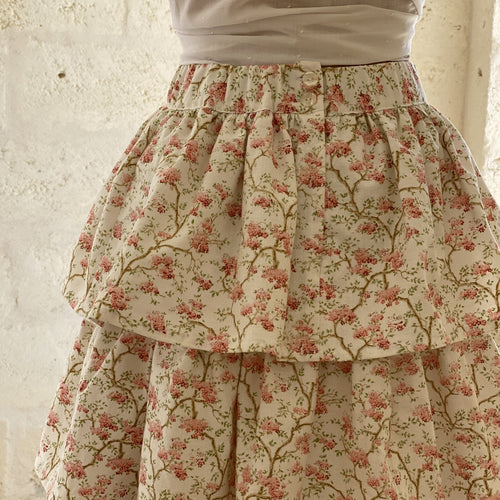 One of a kind - Clara Ruffle Skirt in Vintage Cherry Blossom Print