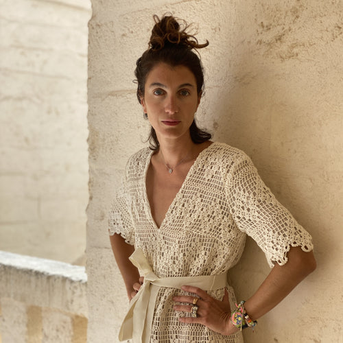 One of a Kind Marta Ferri Bartolo in Vintage Crochet Jumpsuit