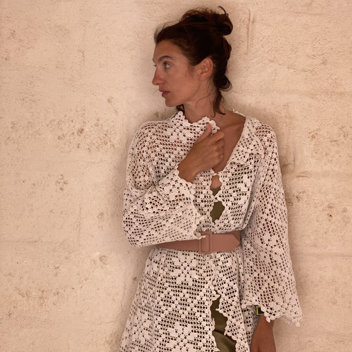 One of a Kind Marta Ferri 20/20 dress in vintage Crochet