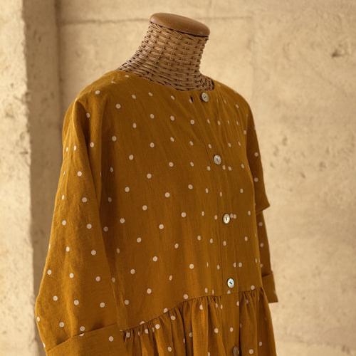 Luisa Dress Mustard Polka dot