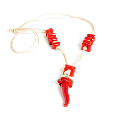 Ceramic chili pepper necklace