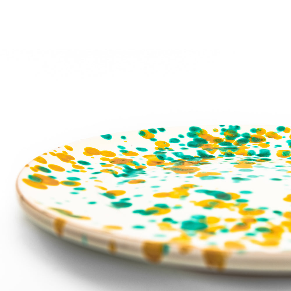 Dessert Plate White, Green & Yellow