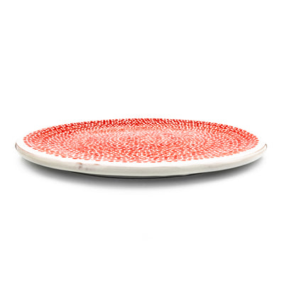 Pizza Plate White & Red