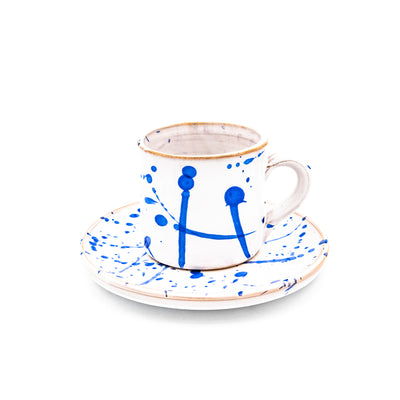 Coffee Cup White & Blue