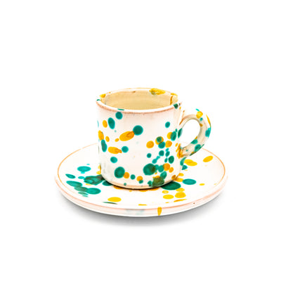 Coffee Cup White, Green & Yellow