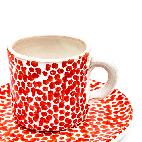 Coffee Cup White & Red