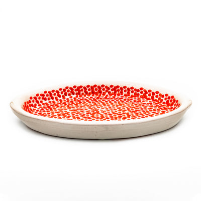 Small Serving Platter White & Red