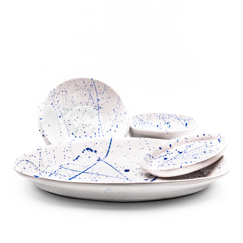 Serving Set White & Blue