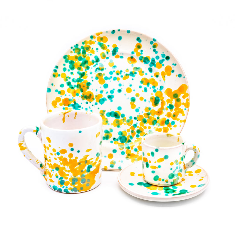 Breakfast Set White, Green & Yellow