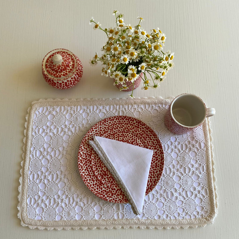 Vintage Natural Crochet Placemats & Napkins (Set of 2)