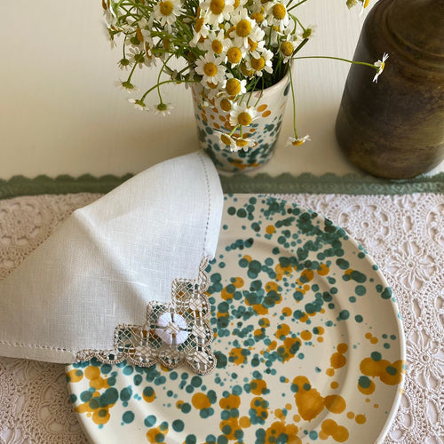 Vintage Green Crochet Placemats & Napkins (Set of 2)