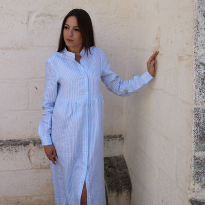 Camilla Dress Wide Stripes White & Light Blue