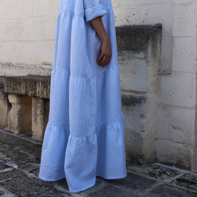 Barbara Dress Wide Stripe White & Light Blue