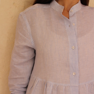 Camilla Dress Stripes White & Light Blue