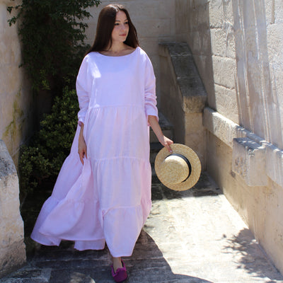 Barbara Dress Stripe White & Pink
