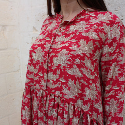 Imperia Dress in Red Toile de jouy