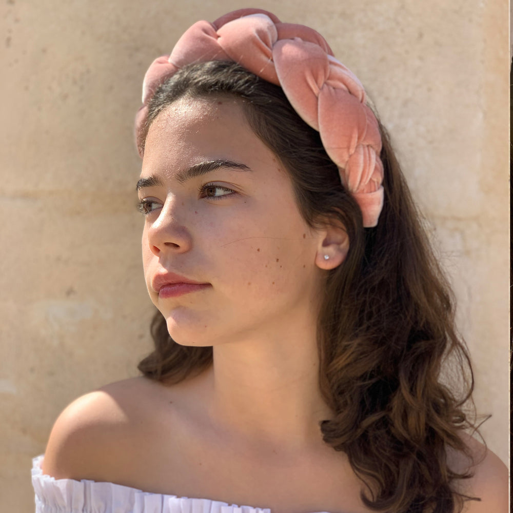 Braided Velvet Headband Pink