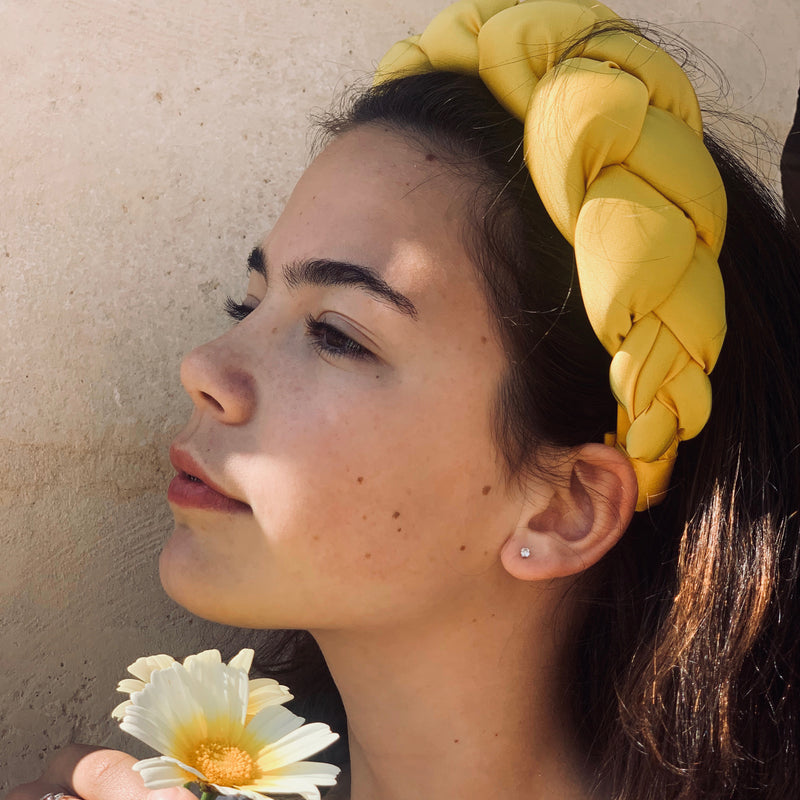Braided Silk Headband Yellow