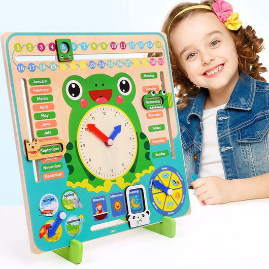 Montessori Wooden Toys Baby Weather Season Calendar Clock Time Cognition Preschool Educational Teaching Aids Toys For Children