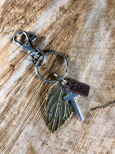 Fabu, Leaf and Cross Keychain
