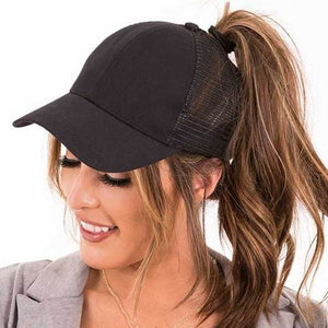 Womens Ponycaps Plain Ponytail Baseball Cap Hat