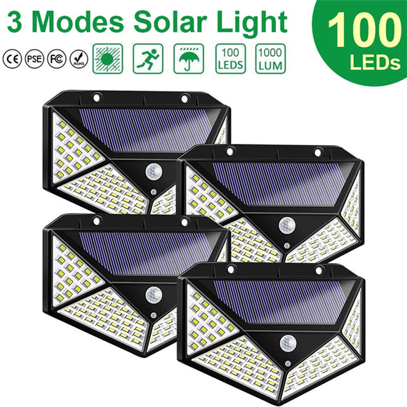 100-LED Solar Lights PIR Motion Sensor Wall Night Light Garden Lamp