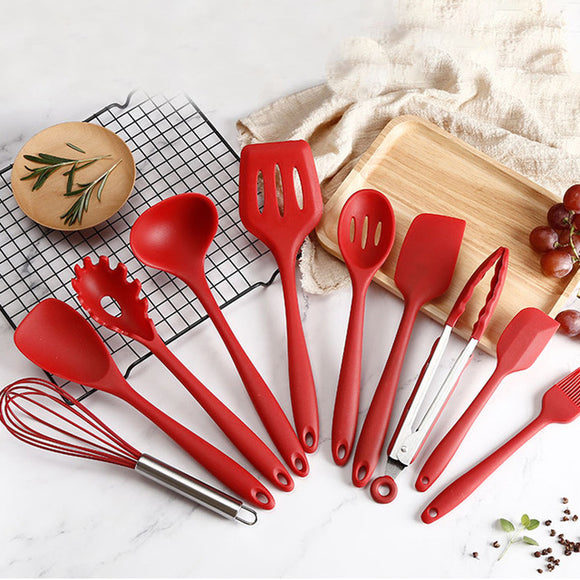 10 Pcs Heat Resistant Silicone Cookware Kitchen Utensils Set