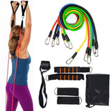 11Pcs/Set Fitness Training Resistance Stretch Exercise Bands Fitness Home Set