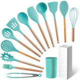 12pcs Wooden Handles Silicone Cookware Utensils Set