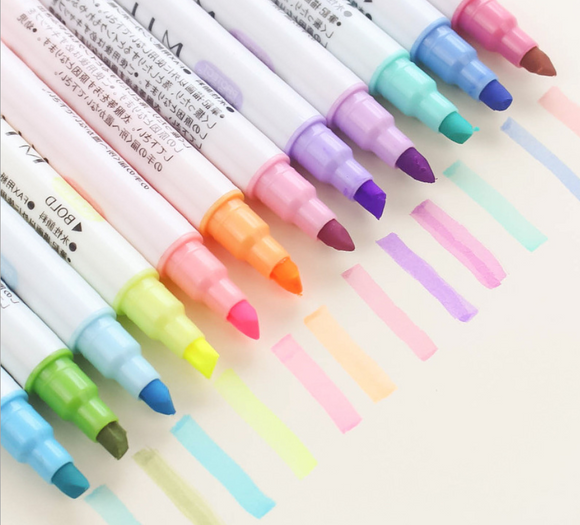 12pcs Colorful Chisel Tip Pocket Highlighters Pens
