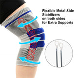 2pcs Compression Knee Support Brace with Side Stabilizers & Patella Gel Pads