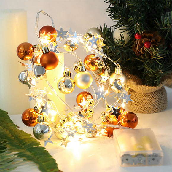 20LED Battery Operated Christmas Tree Ball String Lights with Jingle Bell and Twinkle Star