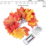 20 LED Maple Leaf String Lights with Remote Control 8 Modes for Thanksgiving Christmas