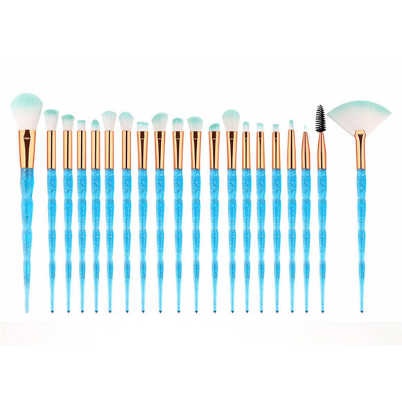 20Pcs Transparent Unicorn Diamond Eyeshadow Eyeliner Blending Makeup Brushes Set