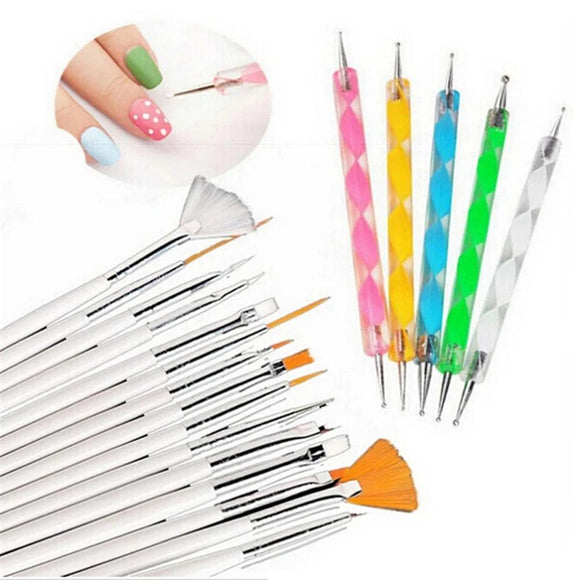 20pcs/set Gel Design Pen Painting Polish Brush Nail Art Brushes Set