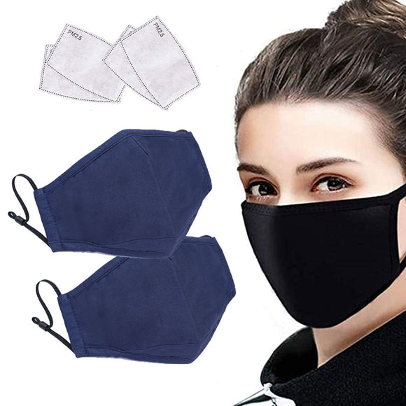 2 Pack Cotton Anti-Dust Mouth Cover with 4pcs PM2.5 Carbon Filters