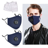 Cotton Cloth Anti-Dust Face Mask with Breathing Valve & 4pcs PM2.5 Filters