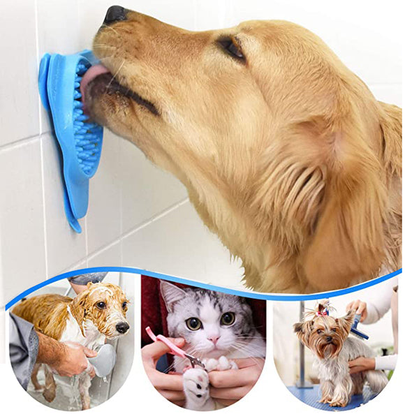 2 Packs Pet Slow Feeder Lick Pad Bath Treater for Dogs Cat Bathing Grooming Training