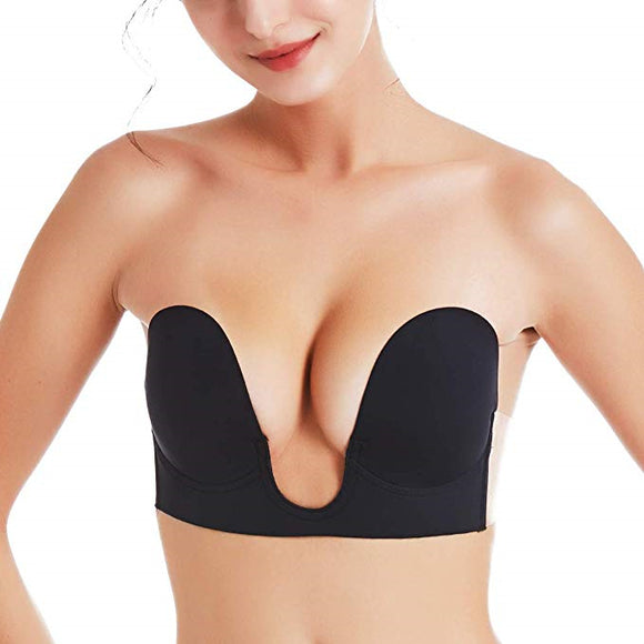 2 Packs Strapless U Plunge V Shape Invisible Push up Sticky Bra