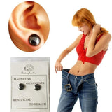 2 Pair Black Stone Magnetic Therapy Stud Earrings