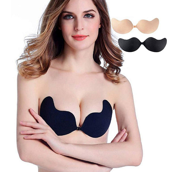 2 Pairs Push up Strapless Self Adhesive Invisible Plunge Bra