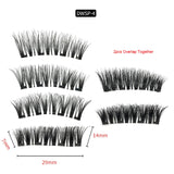 2 Pairs Reusable Thick Long 4-Magnet 3D Magnetic False Eyelashes